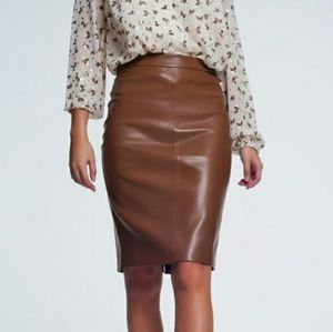 Q2🔥Camel Faux Leather Pencil Skirts